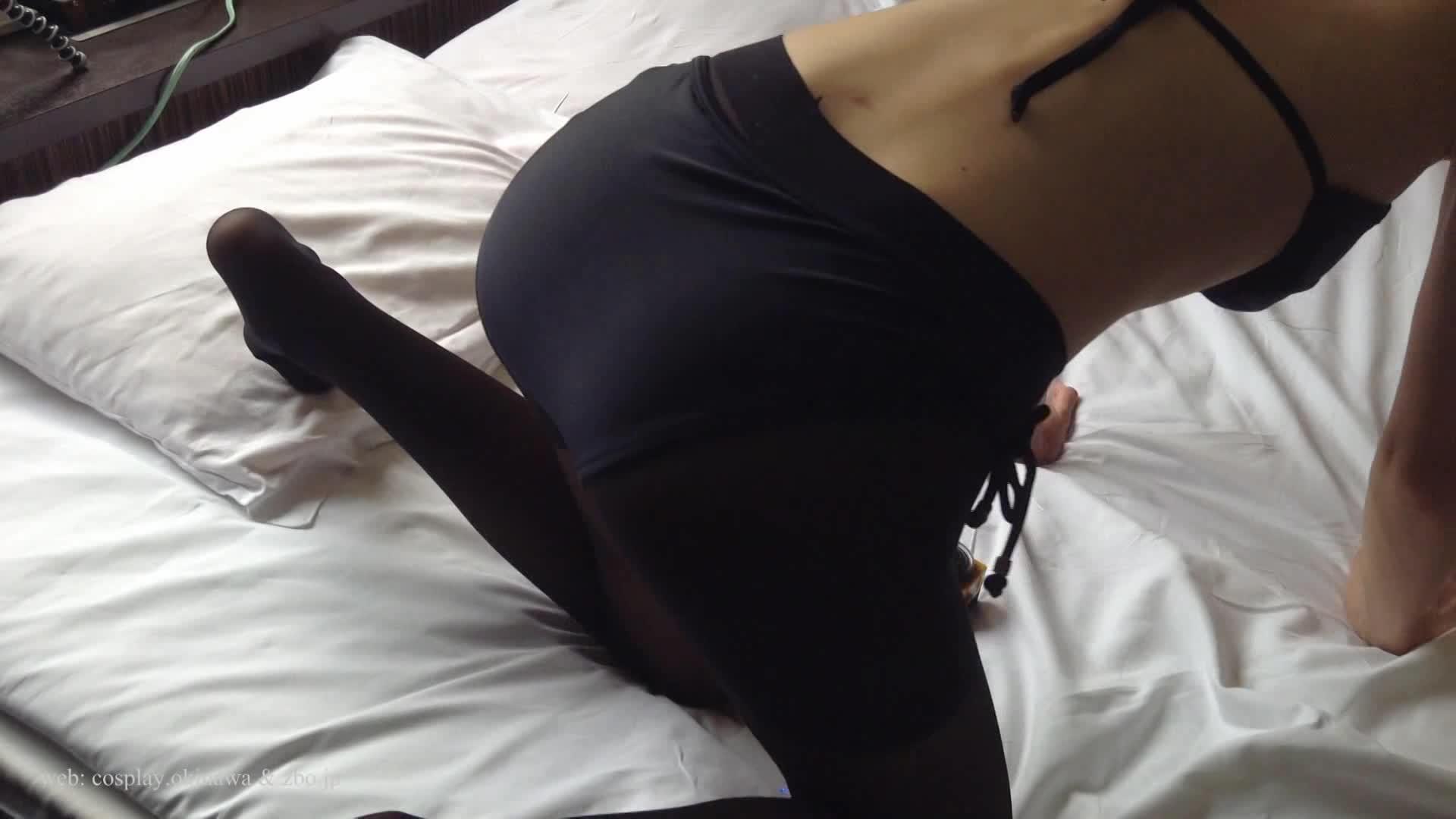 【こんな動画見たことない】360度カメラで見上げる黒ビキニ&黒タイツ美人